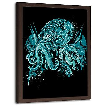 Picture In Brown Frame, Blue Octopus