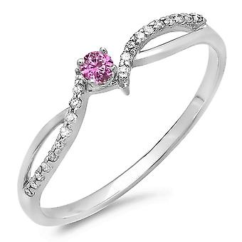 Dazzlingrock Collection 10K Round Pink Sapphire & White Diamond Crossover Split Shank Bridal Promise Ring, White Gold