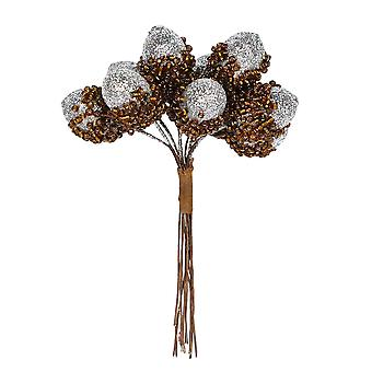 10 Small Silver Glittered Artificial Acorn Picks for Christmas Floristy