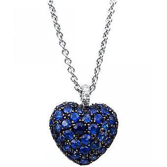 Gemstone Necklace Diamonds 0.03 ct. Sapphire 0.89 ct.