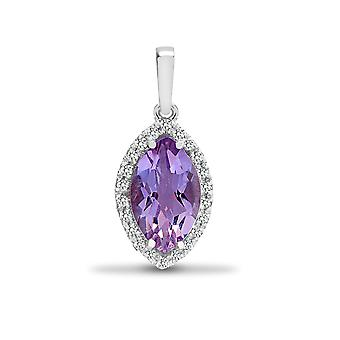 Jewelco London 18ct White Gold 4 Claw 0.1ct Diamond and Marquise Purple 1.65ct Amethyst Teardrop Halo Cluster Pendant