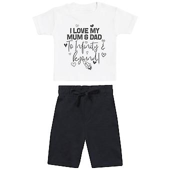 I Love My Mum & Dad To Infinity & Beyond - Baby T-Shirt with Black Baby Shorts - Baby Outfit