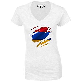 Reality glitch torn armenia flag womens t-shirt - v-neck