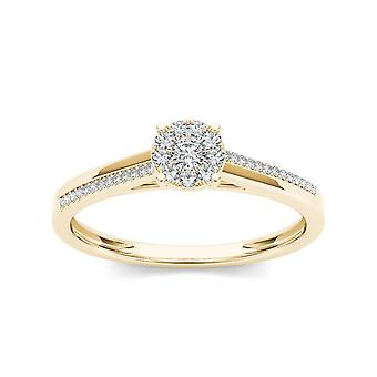 Igi certified 10k yellow gold 0.15 ct diamond cluster classic engagement ring