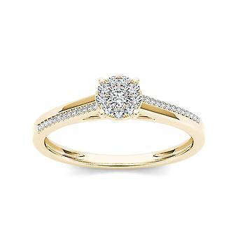 Igi certifierad 10k gult guld 0,15 ct diamant kluster klassiska förlovningsring