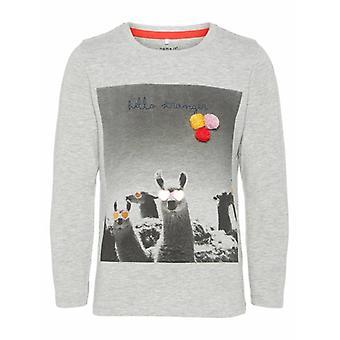 Name-It Mädchen T-Shirt Lama grau Melange