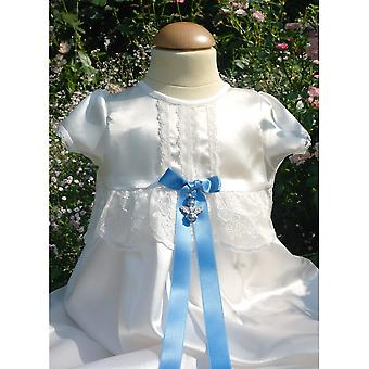 Christening abito Grace Di Svezia - Ho off bianco con arco blu e angelo