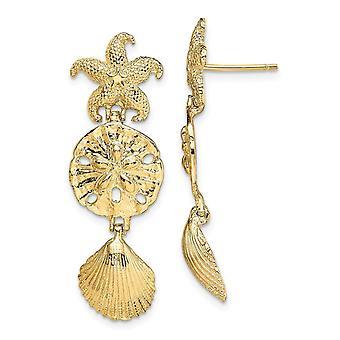14 k Gold funkeln geschnitten Seestern Schale und Sand Dollar lange Tropfen Baumwinkel Ohrringe Maßnahmen 35,2 x 11,6 mm breite Schmuck Geschenke fo