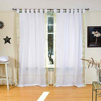 White with Gold  Tab Top  Sheer Sari Curtain / Drape / Panel  - Piece
