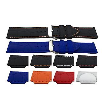 ゴム製時計ストラップのワニの粒、色付きのステッチとステンレス製のバックル18mm、20mm、22mm、24mm