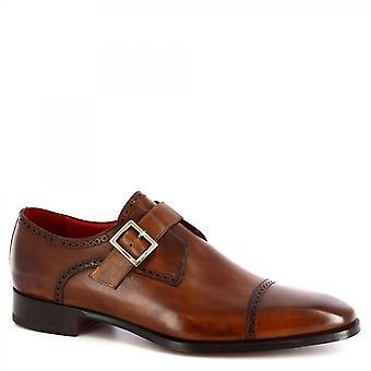 Leonardo Shoes Men's handgemaakte stijlvolle monnikschoenen in delav brandy kalfsleer