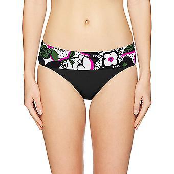 Anne Cole Mujeres's Pliegue sobre el fondo del bikini de media altura, multicolor, tamaño medio