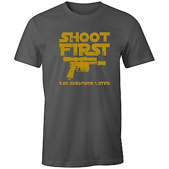 Boys Crew Neck Tee Short Sleeve Men's T Shirt- Shoot First, Ask Questions Later