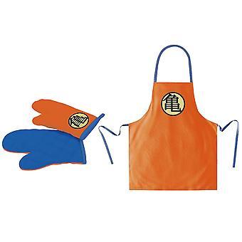 Dragonball Grillschürze und Ofenhandschuh Set orange/blau/gelb, bedruckt, 2-teilig, 55 % Polyester, 45 % Baumwolle.