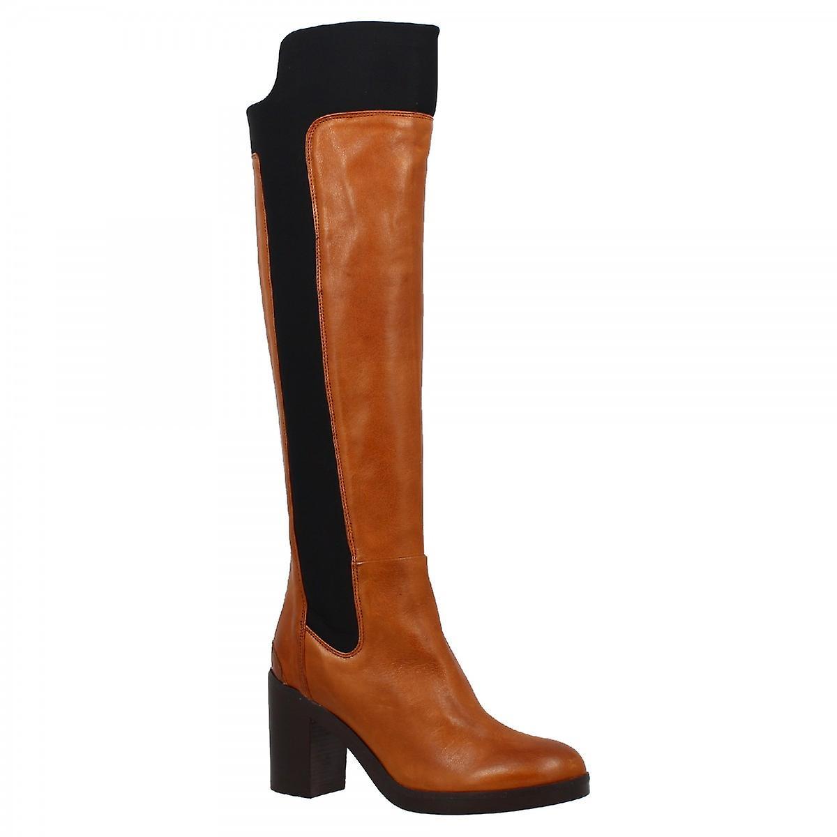 Leonardo Shoes Women's handmade heels knee high boots tan black leather back zip Ocsxm