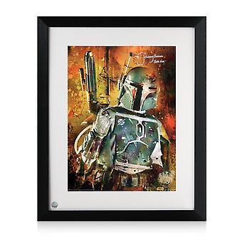 Boba Fett allekirjoitti Star Wars Poster: Bounty Hunter. Kehystetty