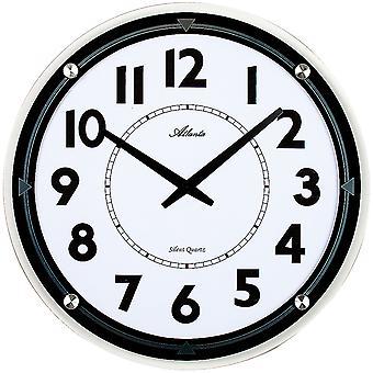 Atlanta 4434 wall clock quartz analog round quietly quietly with glass