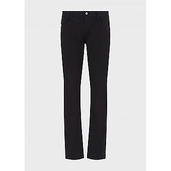 Emporio Armani Cotton Slim Fit Black Jeans