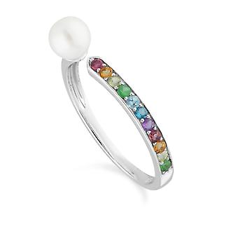 Rainbow Gemstone & Pearl Open Ring in 925 Sterling Silver 270R060901925