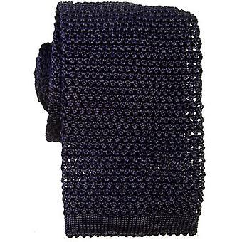 KJ Beckett Knitted Silk Tie - Navy