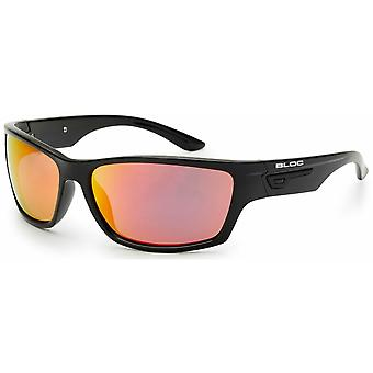 Bloc Eyewear Bail Shiny Black Sunglasses (Red Mirror Lens)