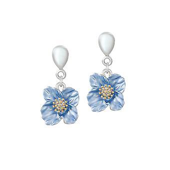 Eternal Collection Blue Poppy Emalje Flower Drop Skrue Tilbage Klip På Øreringe