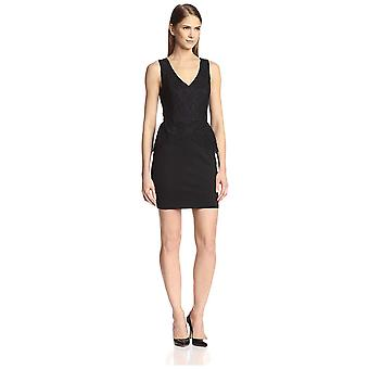SOCIETY NEW YORK Women's Sleeveless Peplum Lace Dress, Black/Black, 10 US