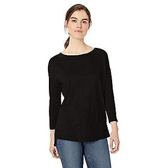 Marke - tägliche Ritual Frauen's leichte Leben-In Baumwolle 3/4-Sleeve Drop-Shoulder Tunika, schwarz, groß