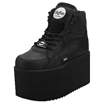 Buffalo 1300-10 2.0 Texas Oil Womens Platform Trainers in Black