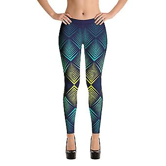 Fashion leggings | fancy | abstract in yellow & blue