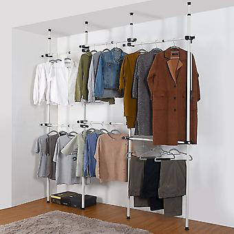 Triple Telescopic Wardrobe Organiser Hanging Rail Clothes Rack Adjustable Storage Shelving