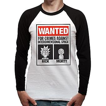 Rick y Morty adultos unisex adultos querían cartel de béisbol camisa de béisbol