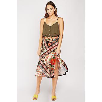 Stripe Floral Midi Skirt