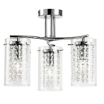 Endon Alda - 3 lichte Semi Flush Multi Arm Plafond licht chroom, clear glass drops, E14