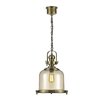 Inspiriert Diyas - Riley - Medium Bell Decke Anhänger E27 antik Messing, Cognac Glas