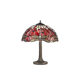 2 Albero leggero come lampada da tavolo E27 con 40cm Tiffany Shade, Viola, Rosa, Cristallo, Ottone Antico Invecchiato