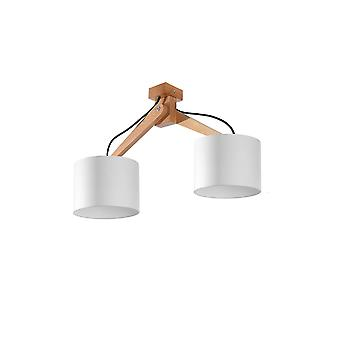 2 Light Flush Plafond Léger Bois Naturel, Blanc