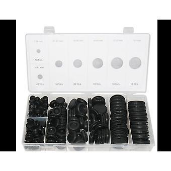 170pcs Black Rubber Grommet Firewall Hole Plug, Behoud Ring Set
