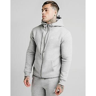 Novo Siksilk Men''s Core Fleece Zip Através de Hoodie Grey