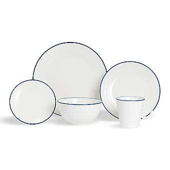 Nicola Spring 20 Piece Country Farmhouse White Dinnerware Set - Dinner Plates, Dessert Plates, Side Plates, Bowls, Coffee Cups