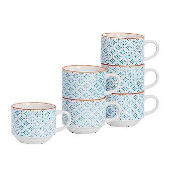 Nicola Spring 6 Piece Hand-Printed Stacking Teacup Set - Japanese Style Porcelain Coffee Cups - Blue - 260ml