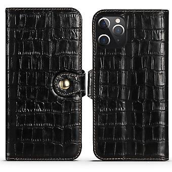 עבור iPhone 12 Pro מקס מקרה עור אמיתי תנין מרקם ארנק כיסוי שחור