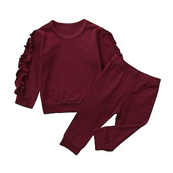 "Children""s Cotton Pajamas Keep Warm Baby Clothes Frill, Kids Sleepwear Long"