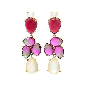 Gemshine örhängen röd och rosa turmalin kvarts och vita månsten droppar