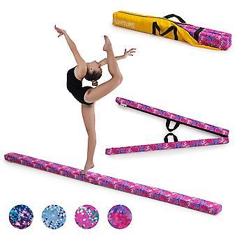 Rosa lila geometrisk gymnastik Fällbara Balans Beam 2.1M Faux Mocka Gym Träningsutrustning