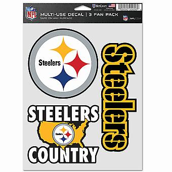 NFL Sticker Multi Set of 3 20x15cm - Pittsburgh Steelers