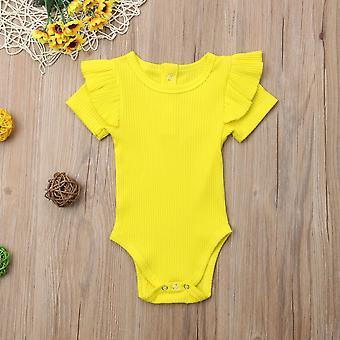 Novorodené detské bavlnené topy, s krátkym rukávom Solid Jumpsuit / Sunsuit