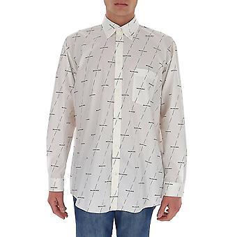 Balenciaga 534333tjlf39040 Mænd's hvid bomuldsskjorte