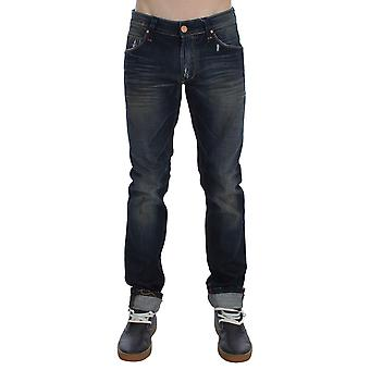 Acht Niebieski Wash Frayed Effect Cotton Denim Slim Fit Jeans