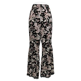 All Worthy Hunter McGrady Women's Petite Pants Printed Wide Leg Black A379484